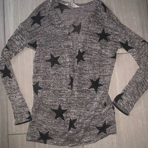 H&M gray cardigan sweater w/black stars 12 14